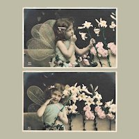 Two Darling Postcards. Cute Girls with Lilies