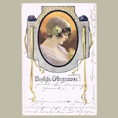 Art Nouveau Easter Postcard  by Braun