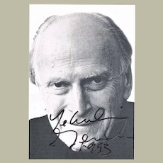 Yehudi Menuhin Autograph on Portrait Photoprint. CoA