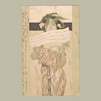 Raphael Kirchner Postcard Girl with Music Sheet