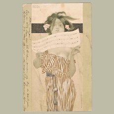 Raphael Kirchner Postcard Girl with Music Sheet
