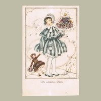 Mela Kohler Postcard Girl with Doll