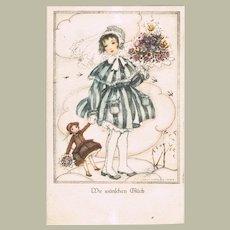 Mela Kohler Postcard Girl with Doll