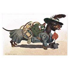 Funny Postcard Dachshund as a Mountaineer