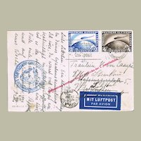 Zeppelin Postcard 2 and 4 RM Stamp to New York. Scarce.