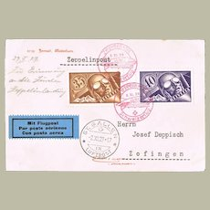Swiss Zeppelin Mail from 1929 with 2 Stamps