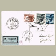 Austrian Zeppelin Mail from 1931 with 3 Stamps