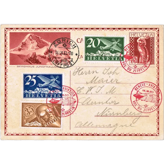Swiss Zeppelin Mail from 1930 with 4 Stamps