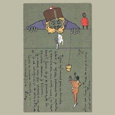 Russian Japanese War Cartoon Postcard Litho 1906