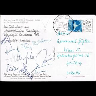 Fritz Moravec Autograph + Team. Austrian Mountaineering in Himalaya Region 1958