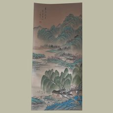 Old Chinese Scroll Painting with Landscape in Traditional Style