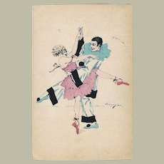 Pierrot and Columbine dancing. Art Deco Postcard 1922