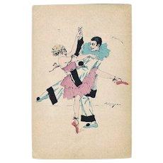 Pierrot and Columbine dancing. Art Deco Postcard 1922