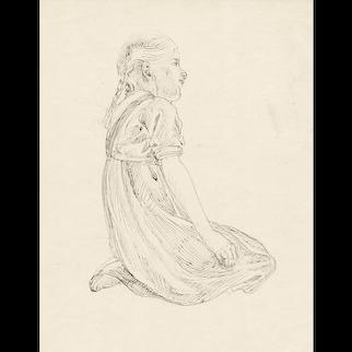 Art Nouveau Drawing of a Kneeling Girl