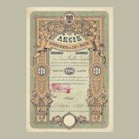 Sugar Refinery Stock Certificate from 1871 Art Decorative Design