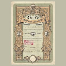 Sugar Refinery Stock Certificate from 1871 Art Decorative Design