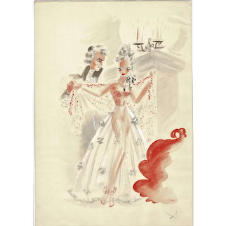 Water Color Lady undressing for Gentleman by Suessenbeck 1940s