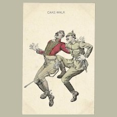 Cake Walk Vintage Postcard with 2 Soldiers WWI