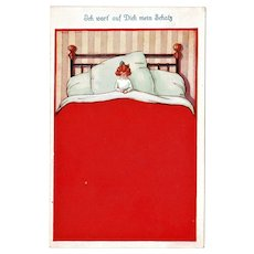 Funny Vintage Postcard. I am waiting for you. Little Girl in Bed.