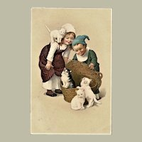 Vintage postcard with Kitten and Children