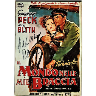 Gregory Peck Two Autographs on 1 Postcard. CoA