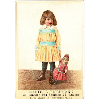Lobby Card Girl with Doll from c. 1910 French Company Fischmann