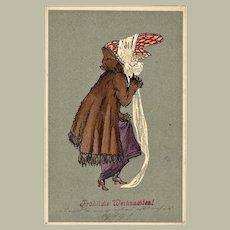 Art Nouveau Xmas Postcard with Lady in Fur