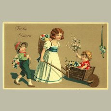 Happy Easter Litho Postcard with Children