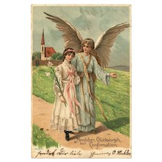 Vintage Postcard with Guardian Angel