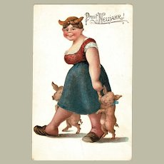 Funny New Year Postcard Lady with Piglets 1908