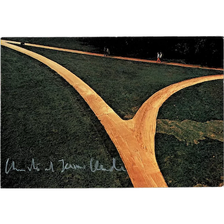 Christo and Jeanne Claude signed Wrapped Walk Ways Postcard with CoA