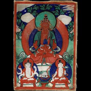 Antique Thangka from Mongolian Buddhist Monastery