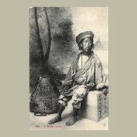 Scarce Postcard with Tibetan Laborer
