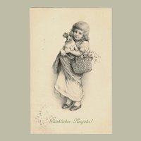 New Years Postcard Girl and Dog 1905