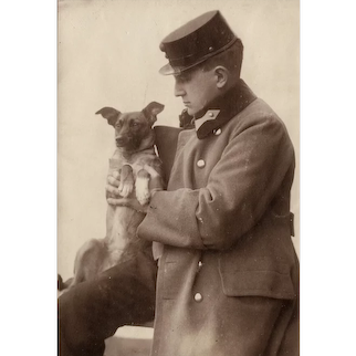 Soldier and Puppy, Vintage Photo from World War 1