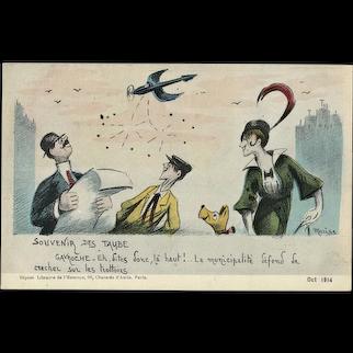 Art Deco Postcard with Plane Etrich Taube. Souvenir des Taube.