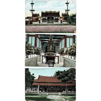 3 old Canton Postcards, South China