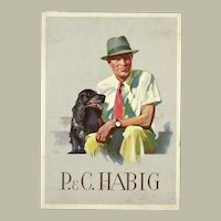 Advertising Postcard for Men's Hats. Man with Dog