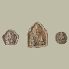 3 Antique Buddhist Votive Offerings, Earthenware 18 – 19th Century