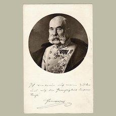Austrian Emperor Francis Joseph Vintage Postcard, ca. 1918