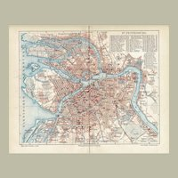 St. Petersburg in Russia 2 Antique Maps from 1900