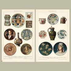 Two antique chromo Lithographs Faiences and Majolica from 1898