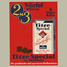 Coffee Advertisement Poster of the 30s Titze Coffee