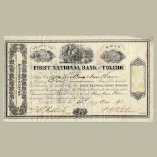 First National Bank of Toledo Antique Stock Certificate 1871