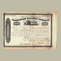 The West Philadelphia Passenger Railway Company Stock Certificate from 1859
