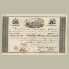 Authentic The Baltimore & Ohio RR Share 1853 President Swann signed  COA