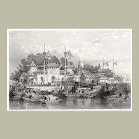 Old China Graphic of Military Station near the City of Chokian. Thomas Allom. c. 1834