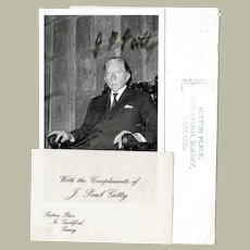 Paul Getty Autograph Signed Photo and Compliments CoA