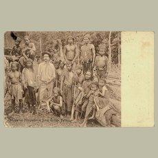 Scarce Malaysian Vintage Postcard with Australian Prospector and Sakai Guides