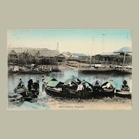 Old Singapore Tinted Postcard with Boats and Huts c. 1905